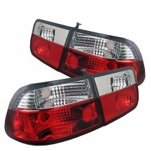 1996-2000 Honda Civic 2Dr Crystal Tail Lights (PAIR) - Red Clear (Spyder Auto)