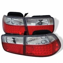 1996-2000 Honda Civic 2Dr LED Tail Lights (PAIR) - Red Clear (Spyder Auto)