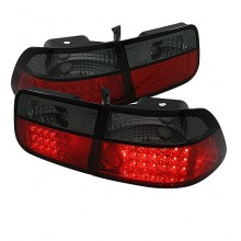 1996-2000 Honda Civic 2Dr LED Tail Lights (PAIR) - Red Smoke (Spyder Auto)