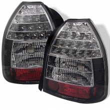 1996-2000 Honda Civic 3DR LED Tail Lights (PAIR) - Black (Spyder Auto)