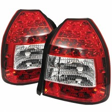 1996-2000 Honda Civic 3DR LED Tail Lights (PAIR) - Red Clear (Spyder Auto)