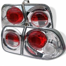 1996-1998 Honda Civic 4Dr Euro Style Tail Lights (PAIR) - Chrome (Spyder Auto)
