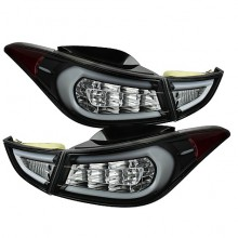 2011-2013 Hyundai Elantra Light Bar LED Tail Lights (PAIR) - Black (Spyder Auto)