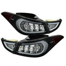 2011-2013 Hyundai Elantra Light Bar LED Tail Lights (PAIR) - Black (Spyder Auto)