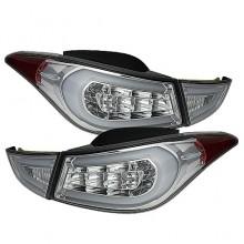 2011-2013 Hyundai Elantra Light Bar LED Tail Lights (PAIR) - Chrome (Spyder Auto)