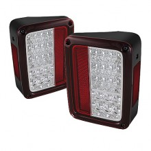 2007-2013 Jeep Wrangler LED Tail Lights (PAIR) - Red Clear (Spyder Auto)