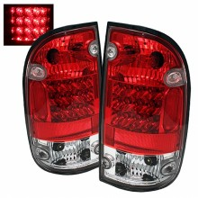 2001-2004 Toyota Tacoma LED Tail Lights (PAIR) - Red Clear (Spyder Auto)
