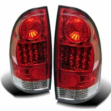 2005-2012 Toyota Tacoma LED Tail Lights (PAIR) - Red Clear (Spyder Auto)