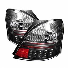 2007-2008 Toyota Yaris 2Dr LED Tail Lights (PAIR) - Black (Spyder Auto)