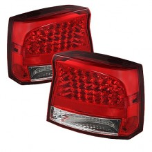 2009-2020 Dodge Charger 2010 LED Tail Lights (PAIR) - Red Clear (Spyder Auto)