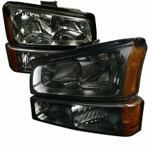 2003-2007 CHEVY SILVERADO CRYSTAL HOUSING HEADLIGHTS (PAIR) AND PARKING LIGHTS (PAIR) SMOKE (Spec-D Tuning)