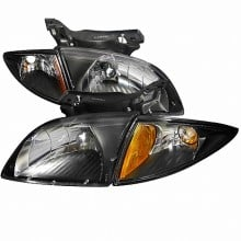 2000-2002 CHEVY  CAVALIER BLACK HOUSING EURO HEADLIGHTS (PAIR) WITH CORNER (Spec-D Tuning)