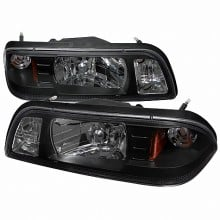 1987-1993 FORD MUSTANG 1 PIECE CRYSTAL HOUSING HEADLIGHTS (PAIR) BLACK (Spec-D Tuning)