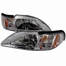 1994-1998 FORD MUSTANG CRYSTAL HOUSING HEADLIGHTS (PAIR) CHROME (Spec-D Tuning)