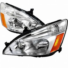 2003-2008 HONDA  ACCORD  EURO HEADLIGHTS (PAIR) CHROME HOUSING (Spec-D Tuning)