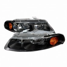 1997-2000 DODGE AVENGER CRYSTAL HOUSING HEADLIGHTS (PAIR) BLACK (Spec-D Tuning)