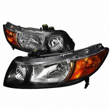 2006-2010 HONDA  CIVIC  EURO HEADLIGHTS (PAIR) BLACK HOUSING (Spec-D Tuning)
