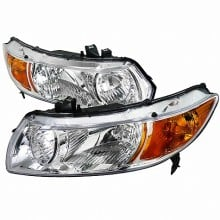 2006-2010 HONDA  CIVIC  EURO HEADLIGHTS (PAIR) CHROME HOUSING (Spec-D Tuning)