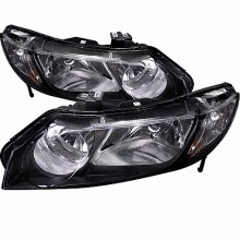 2006-2011 HONDA  CIVIC  BLACK HOUSING EURO HEADLIGHTS (PAIR) SEDAN (Spec-D Tuning)