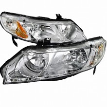 2006-2011 HONDA  CIVIC  EURO HEADLIGHTS (PAIR) CHROME HOUSING (Spec-D Tuning)