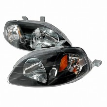 1999-2000 HONDA CIVIC CRYSTAL HOUSING HEADLIGHTS (PAIR) BLACK (Spec-D Tuning)