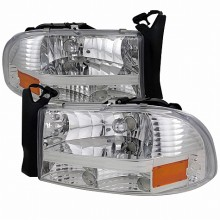 1997-2004 DODGE  DAKOTA  CHROME HEADLIGHTS (PAIR)  (Spec-D Tuning)