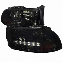 1997-2004 DODGE  DAKOTA  SMOKED HEADLIGHTS (PAIR) WITH LED (Spec-D Tuning)