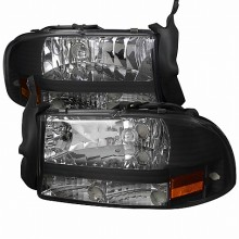 1997-2004 DODGE  DAKOTA  BLACK HEADLIGHTS (PAIR)  (Spec-D Tuning)