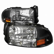1997-2004 DODGE  DAKOTA  BLACK HEADLIGHTS (PAIR) WITH LED (Spec-D Tuning)