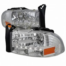 1997-2004 DODGE  DAKOTA  CHROME HEADLIGHTS (PAIR) WITH LED (Spec-D Tuning)