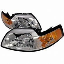 1999-2004 FORD MUSTANG CRYSTAL HOUSING HEADLIGHTS (PAIR) CHROME (Spec-D Tuning) Replacement