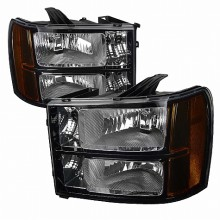 2007-2012 GMC  SIERRA  BLACK HEADLIGHTS (PAIR)  (Spec-D Tuning)