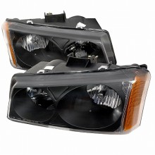 2003-2006 CHEVY SILVERADO CRYSTAL HOUSING HEADLIGHTS (PAIR) BLACK (Spec-D Tuning)