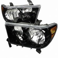 2007-2011 TOYOTA  TUNDRA  EURO HEADLIGHTS (PAIR) BLACK HOUSING (Spec-D Tuning)