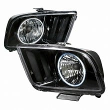 2005-2009 FORD MUSTANG CRYSTAL HOUSING HEADLIGHTS (PAIR) BLACK (Spec-D Tuning)
