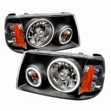 2001-2004 FORD RANGER CCFL HALO EURO HEADLIGHTS (PAIR) BLACK (Spec-D Tuning)