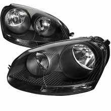 2005-2010 VOLKSWAGEN JETTA  BLACK HOUSING EURO HEADLIGHTS (PAIR) (Spec-D Tuning)