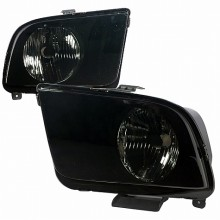 2005-2009 FORD  MUSTANG  EURO HEADLIGHTS (PAIR) SMOKE LENS  (Spec-D Tuning)