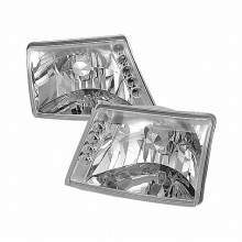 1998-2000 FORD RANGER CRYSTAL HOUSING HEADLIGHTS (PAIR) CHROME (Spec-D Tuning)