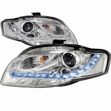 2006-2008 AUDI  A4 PROJECTOR HEADLIGHTS (PAIR) CHROME R8 STYLE  (Spec-D Tuning)