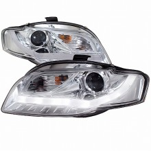2006-2008 AUDI  A4 PRJECTOR HEADLIGHTS (PAIR) CHROME R8 STYLE WITH LED SIGNAL (Spec-D Tuning)