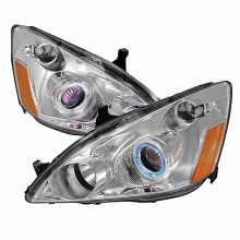 2003-2007 HONDA ACCORD HALO PROJECTOR HEADLIGHTS (PAIR) CHROME (Spec-D Tuning)