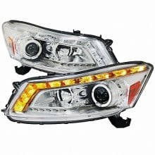2008-2011 HONDA ACCORD  PROJECTOR HEADLIGHTS (PAIR) CHROME HOUSING SEDAN MODEL (Spec-D Tuning)