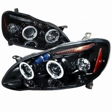 2003-2008 TOYOTA  COROLLA  HALO PROJECTOR HEADLIGHTS (PAIR) GLOSS BLACK HOUSING SMOKE LENS  (Spec-D Tuning)