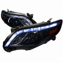 2011-2013  TOYOTA  COROLLA  PROJECTOR HEADLIGHTS (PAIR) GLOSSY BLACK HOUSING WITH SMOKED LENS  (Spec-D Tuning)