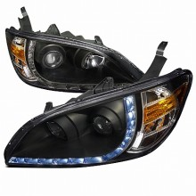 2004-2005 HONDA CIVIC R8 STYLE PROJECTOR HEADLIGHTS (PAIR) BLACK HOUSING  (Spec-D Tuning)