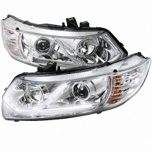 2006-2009 HONDA  CIVIC  LED PROJECTOR HEADLIGHTS (PAIR) CHROME HOUSING (Spec-D Tuning)