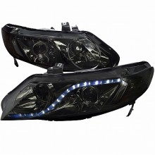 2006-2011 HONDA  CIVIC  06-11 HONDA CIVIC 4 DOORS R8 STYLE PROJECTOR HEADLIGHTS (PAIR) SMOKE (Spec-D Tuning)