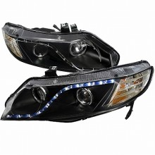 2006-2011 HONDA  CIVIC  06-11 HONDA CIVIC 4 DOORS R8 STYLE PROJECTOR HEADLIGHTS (PAIR) BLACK (Spec-D Tuning)