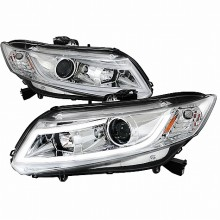 2012-2013 HONDA CIVIC R8 STYLE LED PROJECTOR HEADLIGHTS (PAIR) CHROME (Spec-D Tuning)